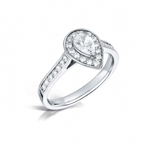 GIA Certified G VS Diamond cluster ring, Platinum. Pear centre stone - 0.50ct